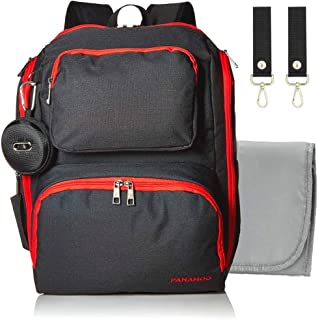 Diaper Bag Backpack for baby. Large capacity waterproof multifuntion stylish maternity travel pack with insulated pockets, gray changing pad, stroller straps and bags dispenser plus more.