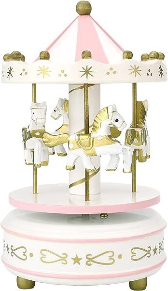Soledi New Vintage Pink Wooden Merry Go Round Carousel Classic Music Box Kids Children Girls Christmas Birthday Wedding Gift Toy