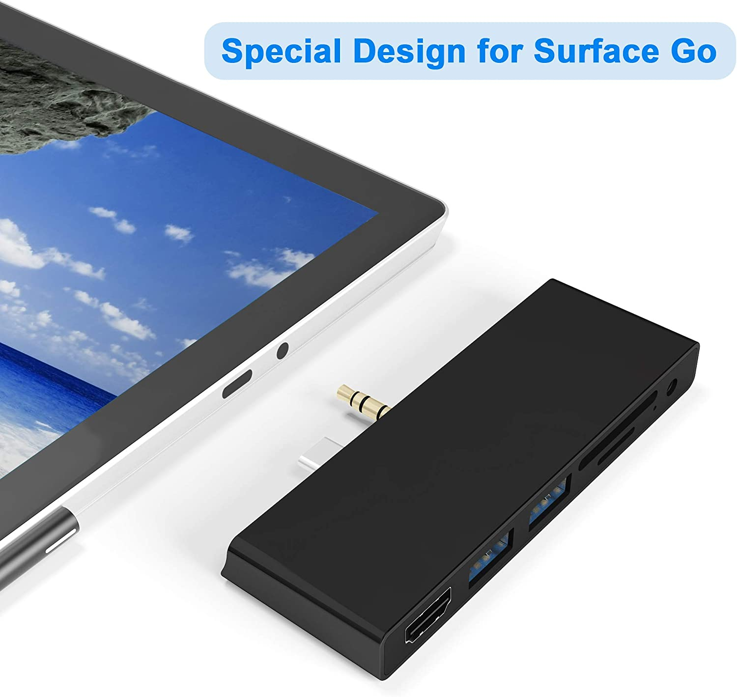 Surface Go/Go 2 USB Hub,7-in-2 Surface Go/Go 2 Docking Station,Surface Go Adapter with 4K HDMI, 2 USB 3.0 Ports, 3.5mm Earphones Jack, SD/TF Card Slot