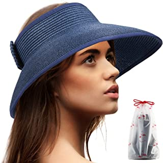 Foldable Sun Visors for Women - Beach Hat Wide Brim Sun Hat Roll Up Straw Hat