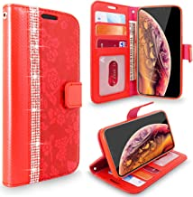 Cellularvilla iPhone XR Case, [Diamond Jewel] Embossed Flower Design PU Leather Wallet Case [Card Slots] [Magnetic Closure] [Stand Feature] Folio Flip Cover for Apple iPhone XR 2018 (Red Bling)