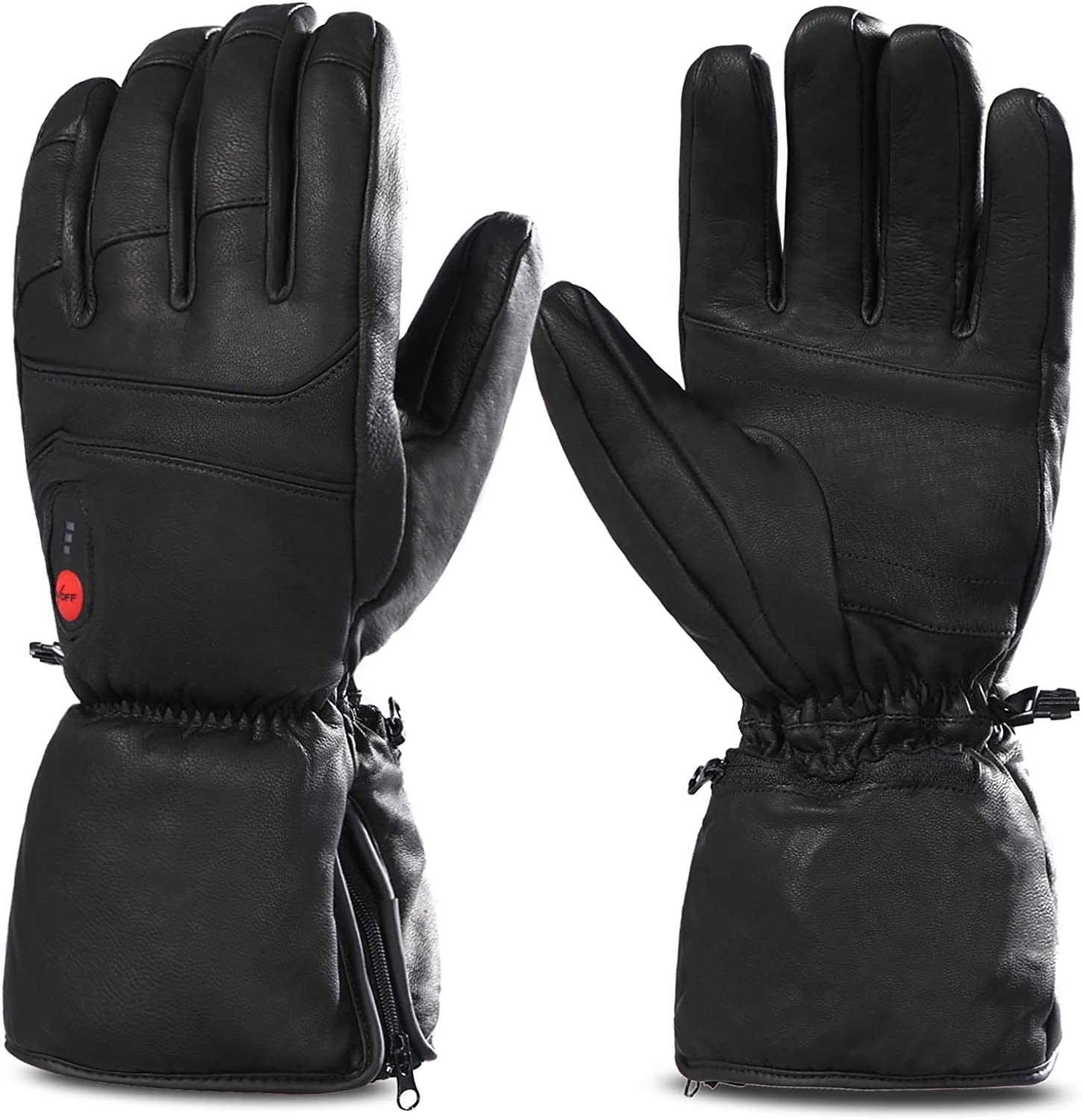Savior Heated Gloves for Men Women, Rechargeable Electric Leather Gloves for Motorcycle Ski Hunting Riding Arthritis