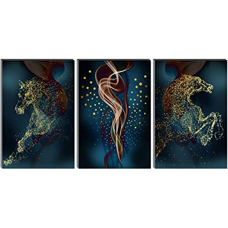 SAF Set of 3 Modern art Horses MDF Self Adhessive UV Textured Painting 36 Inch X 18 Inch( Each Painting Size 12 Inch X 18 Inch) PHSX30234