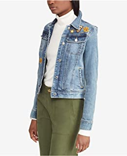 LAUREN RALPH LAUREN Womens Susan Spring Embroidered Denim Jacket