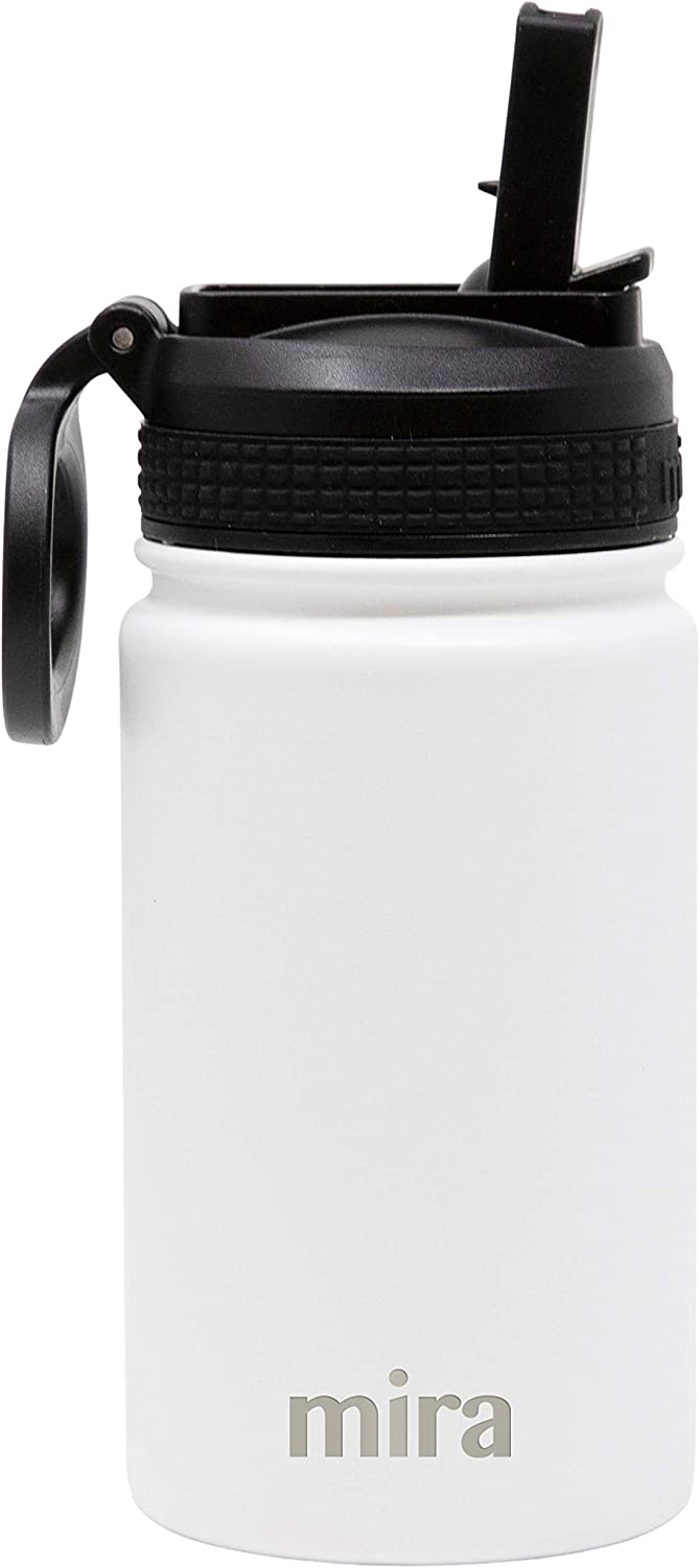 Wide Mouth /& Double Wall Vacuum Insulated Metal Thermos Flask Keeps Cold for 24 Hours Hot for 12 Hours BPA-Free Straw Lid Cap Black MIRA 12 oz Stainless Steel Water Bottle