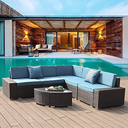 Anbuy Patio Furniture Set Outdoor Sectional - 6 Pieces Conversation Couch Wicker Rattan Seating Sofa with Tea Table Cushions for Backyard Porch Garden Poolside Balcony (Brown Rattan/Teal Cushion)