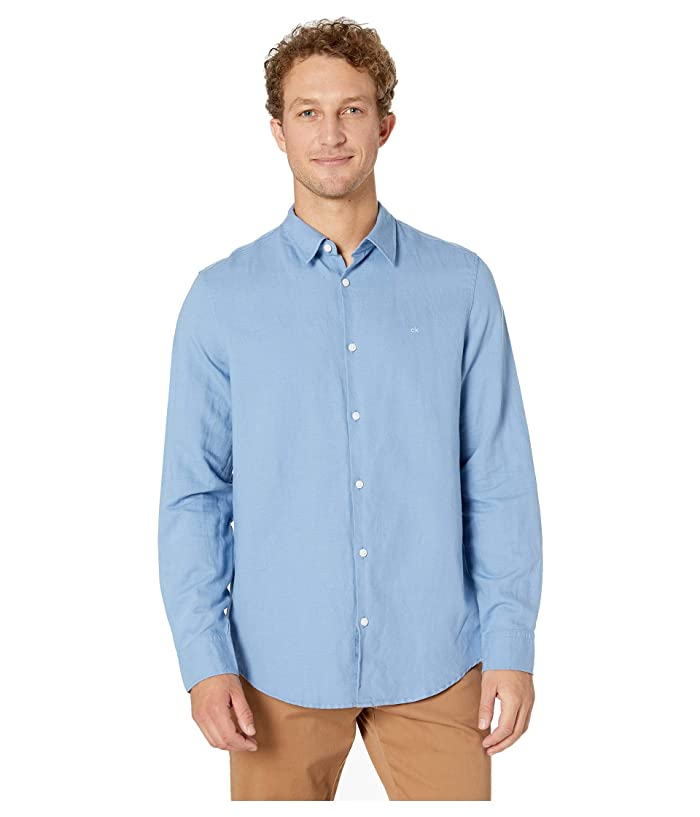 806d3ee90fc9 Calvin Klein Long Sleeve Cotton Linen Button Down Shirt | Zappos.com