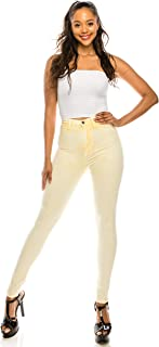 AP Blue Aphrodite High Waisted Jeans for Women - High Rise Waist Skinny Womens Mineral Overdye Jeans with Faux Front Pockets 4633 (Made in USA) Light Yellow 1