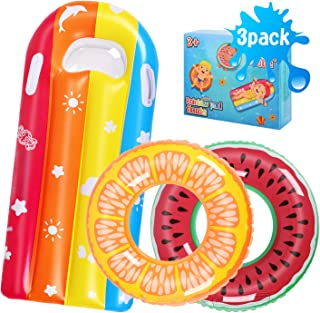Biulotter Swimming Rings for Kids Fruit Pool Float, Swim Tube Ring, Inflatable Pool Floats Swim Pool Party Inner Tube for Kids, 3 Style Summer Pool Toy for Fun