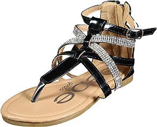 64cb4381f225 bebe Girls Metallic Gladiator Sandals with Rhinestone Straps (Little  Kid Big Kid)