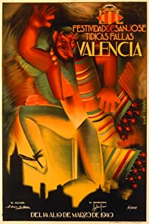 Festividad de San Jose Tipicas Fallas - Valencia Vintage Poster Spain c. 1940 (12x18 Art Print, Wall Decor Travel Poster)