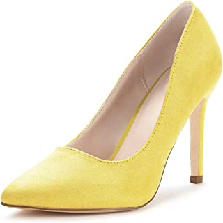 Ruanyu Women's Classic Pointed Toe Slip-On Stiletto Wedding Dress High Heel Pumps