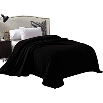 """Exclusivo Mezcla Velvet Flannel Fleece Plush King Size Bed Blanket as Bedspread/Coverlet/Bed Cover (90"""" x 104"""", Black) - Soft, Lightweight, Warm and Cozy"""