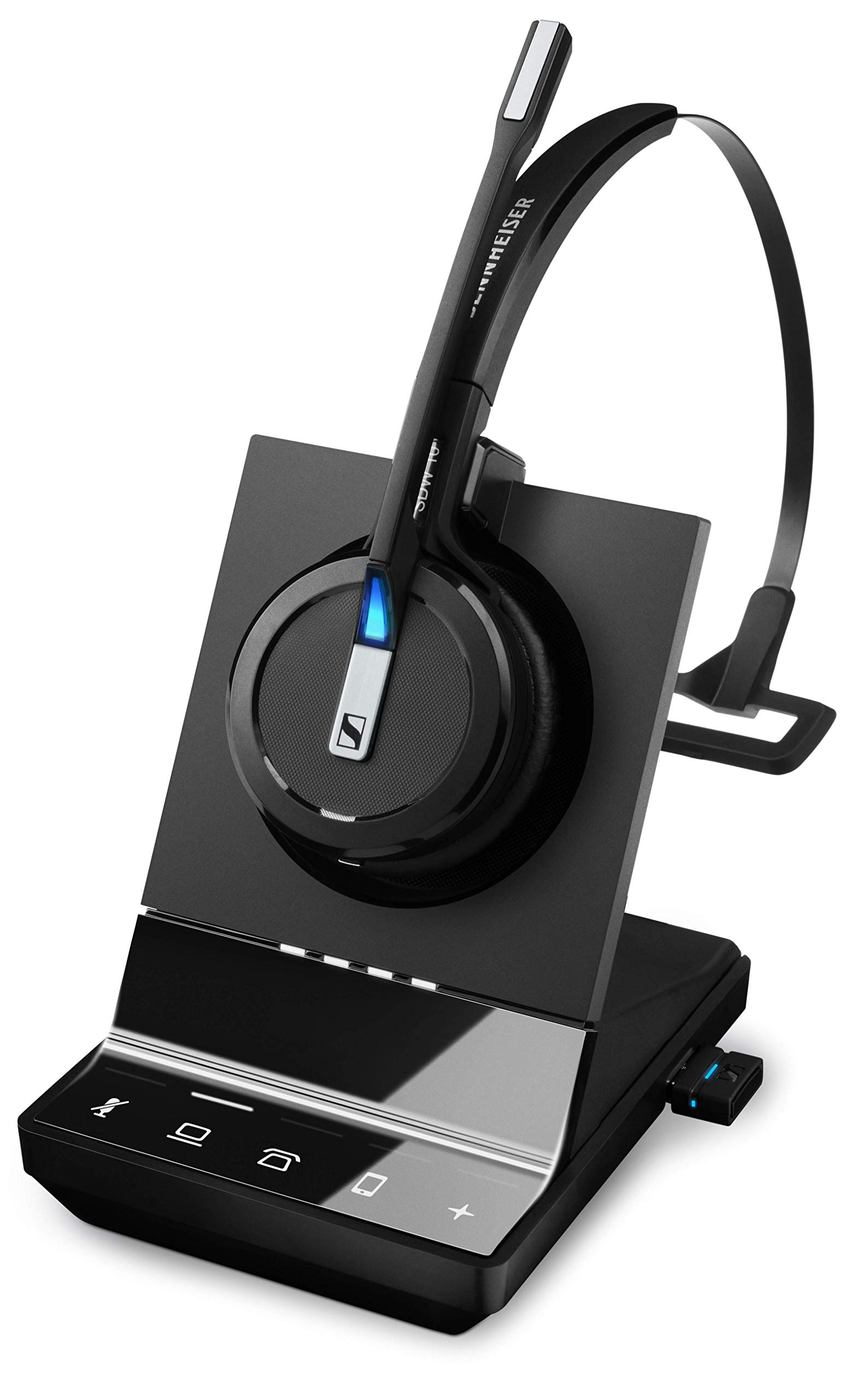 Amazon Com Sennheiser Sdw 5016 507016 Single Sided Wireless Dect Headset For Desk Phone Softphone Pc Mobile Phone Connection Dual Microphone Ultra Noise Canceling Black 3 Inches Office Products