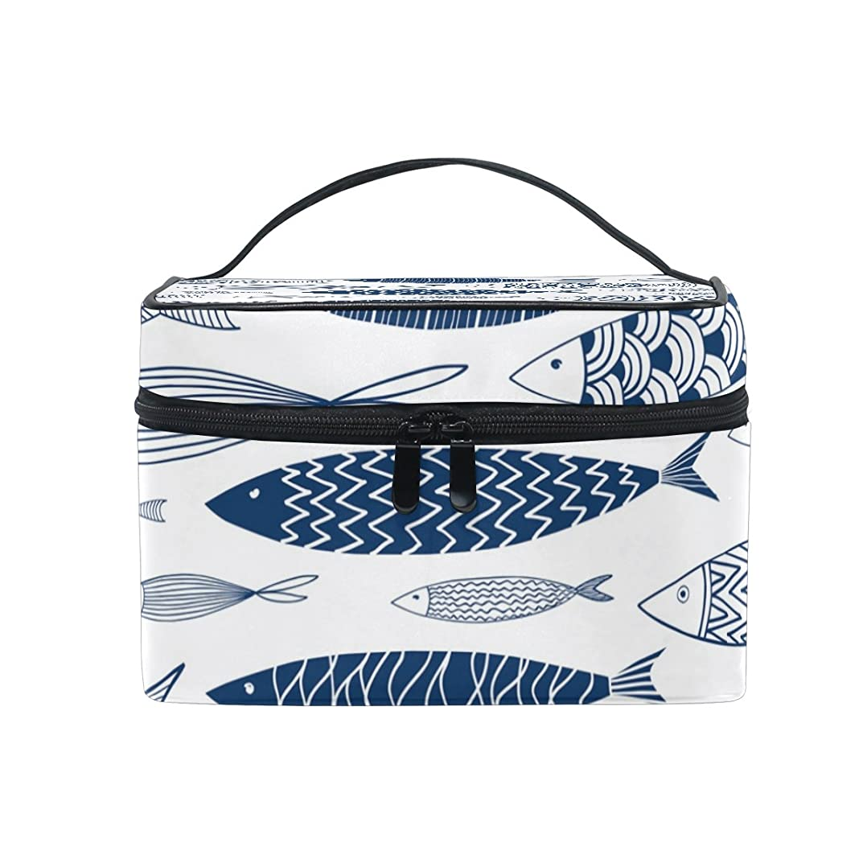 イル一元化するどうやらALAZA 化粧ポーチ 魚柄 さかな柄 化粧 メイクボックス 収納用品 ホワイト 大きめ かわいい