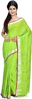 SareesofBengal Women's Handwoven Linen Saree with Blouse Piece (L034, White, Free Size)