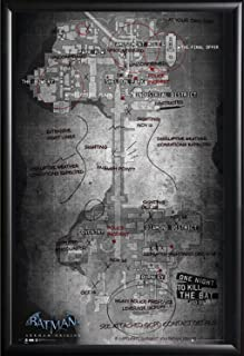 Framed Batman Origins Map Of Gotham City 24x36 Poster Dry Mounted in Real Wood with Matte Black Finish Crafted in USA