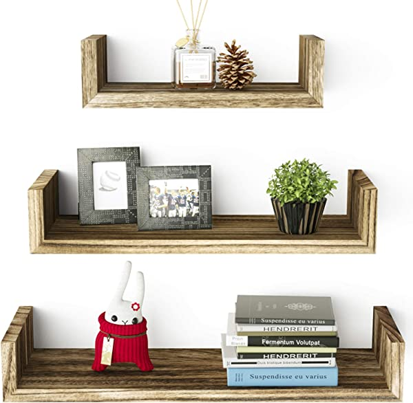 SRIWATANA Floating Shelves Wall Mounted Solid Wood Wall Shelves Torched Finish