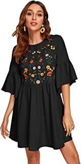 Women's Embroidered Floral Bell Sleeve A Line Tunic Dress