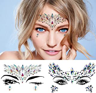 Leoars Crystals Face Jewels Sticker, Mermaid Face Gems Tattoo, Bindi Eye Face Gem Stick on, Pride Tribe Rainbow Body Jewelry Holographic Eyebrow Gems Glitter for Festival Rave, 2-Pack, Set 2