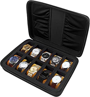 10 Slots Watch Box Organizer/Men Watch Display Storage Case Fits All Wristwatches and Smart Watches up to 42mm with Extra ...
