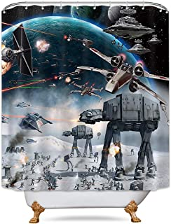 LIGHTINHOME Stormtroopers in Star War Movie Shower Curtain Panel White and Black Soldier Decor Fabric Bathroom Set Polyester Waterproof 72x72 Inch with 12-Pack Plastic Shower Hooks