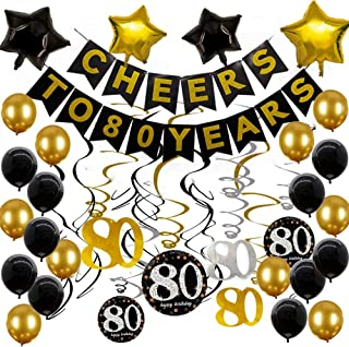 80th Birthday Decorations Party Supplies Gold Glittery Cheers to 80 Years Banner Sparkling Celebration 80 Hanging Swirls Black and Gold Balloons 80th birthday gifts for men women