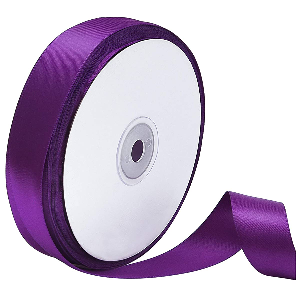 Livder Double Face Purple Satin Ribbon, 1 inch Wide 50 Yard Length (Purple)
