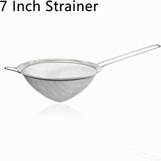 Food Strainer 7 Inch Stainless Steel Conical Strainers Fine Mesh Colander Cocktail Strainer with Long Handle for Filtering Cocktails Tea Juice Rice