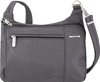 Anti-Theft Asymmetric East/West Bag - Small Nylon Crossbody for Travel & Everyday - (Pewter/Dark Emerald Interior)