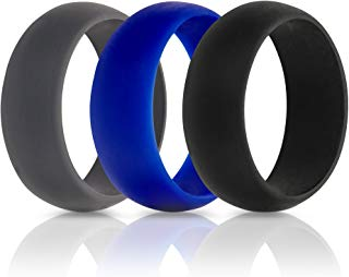 ThunderFit Silicone Wedding Rings for Men - 7 Pack / 5 Pack / 3 Pack - Rubber Wedding Bands 8.7mm Wide (2mm Thick)