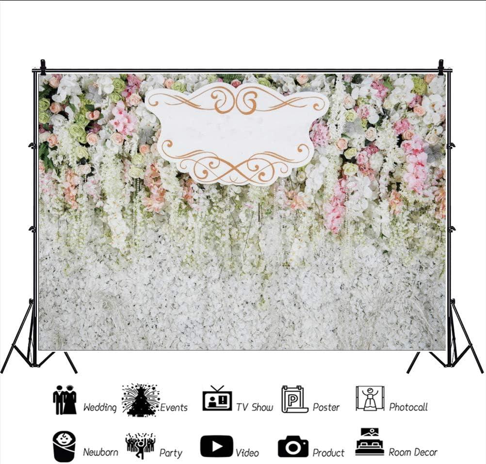 Haoyiyi 8x6ft Wedding Ceremony Reception Bakcdrop Art 3D Flower Floral Wall Background Photography Photo Lover Bridal Shower Bachelorette Marriage Engagement Ceremony Reception Annivesary Decor