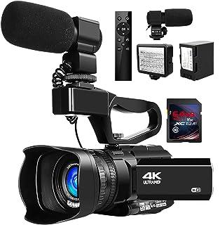 ビデオカメラ4K ビデオカメラ ウルトラHD 48MPYouTube 30XデジタルズームIRナイトビジョンビデオカメラ 手持ちスタビライザー付き360°ワイヤレスリモコン64G SDカード付き 日本語取扱説明書