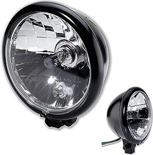 H4 Motorrad Scheinwerfer Bates Style BM 5 3/4 Zoll mit unterer Halterung schwarz Klar Glas E Geprüft universal