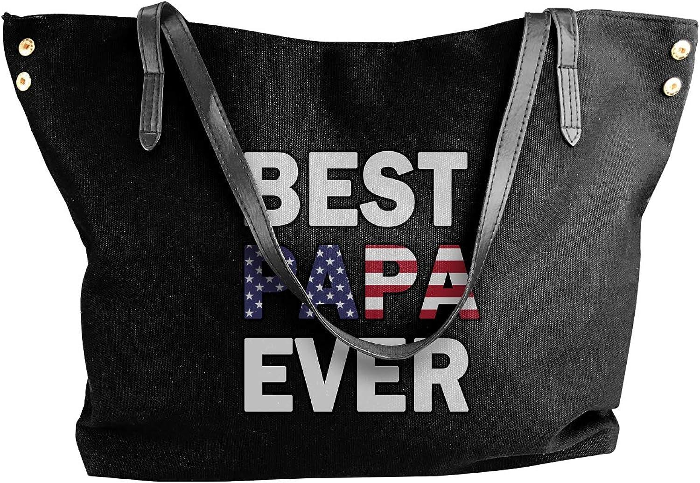 Best Papa Ever Women'S Leisure Canvas Handbag For School Shoulder Tote