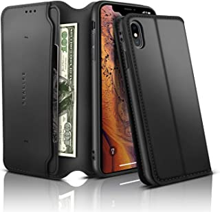 REALIKE iPhone X Wallet Case iPhone PU Leather Wallet Case iPhone X Flip Cover Case with Card Slot Holder Pocket Shockproof Protection Magnetic Closure Case for Men and Women (Black)