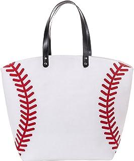 ONGLYP Oversized Large 23'' Baseball Canvas Cotton Sports Tote Bag Utility Weekender Beach Totes Shoulder Bags (Baseball)