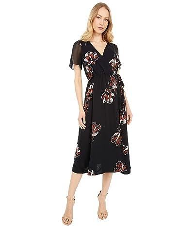 Madewell Georgette Double-Tie Wrap Midi Dress in Duskblossom