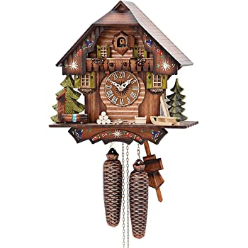 German Cuckoo Clock 8-day-movement Chalet-Style 13 inch - Authentic black forest cuckoo clock by Hekas