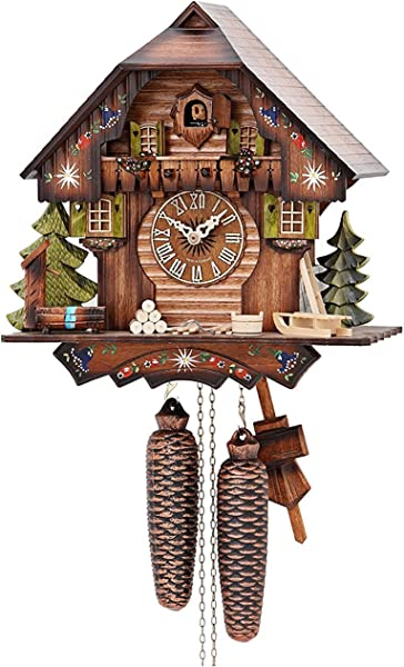 German Cuckoo Clock 8 Day Movement Chalet Style 13 Inch Authentic Black Forest Cuckoo Clock By Hekas