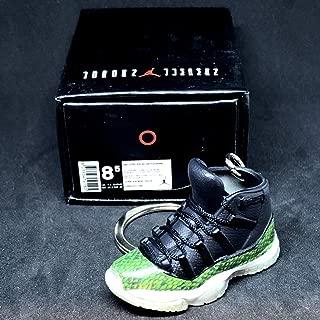 Air Jordan XI 11 Retro High Snakeskin Green OG Sneakers Shoes 3D Keychain 1:6 Figure + Shoe Box