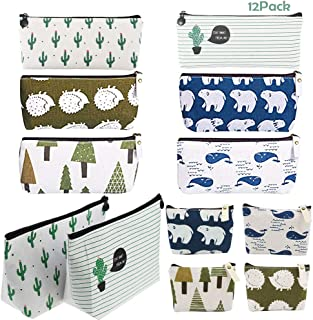12Pcs Canvas Pencil Case, AUHOKY Portable Pen Pencil Zipper Pouches, Small Cosmetic Makeup Bag Coin Organizer School Stationery Holder - Forest & Animal Style (3 Sizes, 6 Patterns)