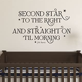 Ditooms Neverland Wall Decal Second Star To The Right Wall Quote Peter Pan Whimsical Nursery Decal Quote Kids Wall Art Decor Vinyl Wall Decal