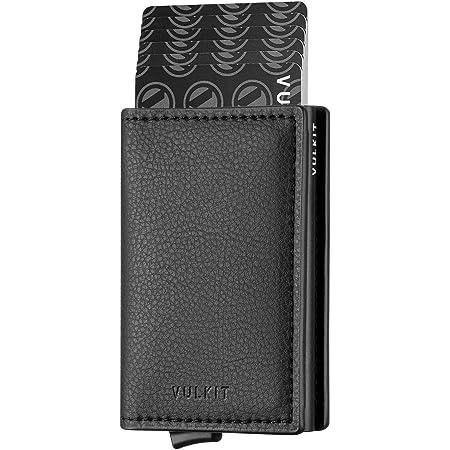 VULKIT Credit Card Holder for Men Leather Card Wallet RFID Blocking Pop Up Metal Bank Card Case with 3 Slots for Cards & Notes, Black