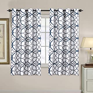 H.VERSAILTEX Blackout Curtains for Bedroom Thermal Insulated Window Panels Draperies - (Print Dark Denim and Grey Geo Pattern) 52x63 Inch, 2 Pieces, Insulating Room Darkening Drapes for Living Room