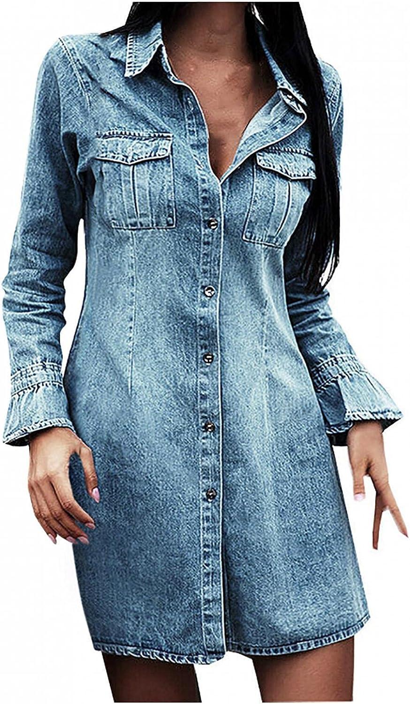 ManxiVoo Denim Dress, Women's Casual Turndown Collar Denim Dresses Long Sleeve Jean Swing Dress Tunic Top