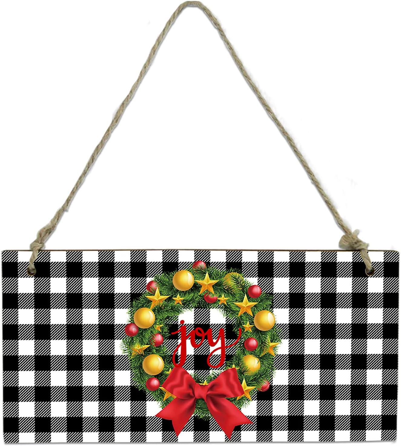 Ranking TOP20 LEOKOTI Christmas Farm Joy Wreath Hanging Wall for Sign Do New arrival Board
