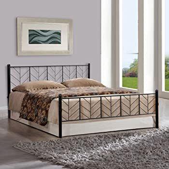 FurnitureKraft Lisbon Queen Size Metal Bed (Mild Steel - Black)