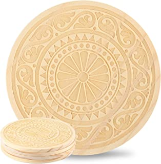 Kevancho Funny Wood Coasters for Drinks Absorbent Set of 4 PCS, Personalized Laser Pattern, Cute Round Table Mug Cup Mats for Car Home Office Bar, Housewarming Gifts (Palace Style)