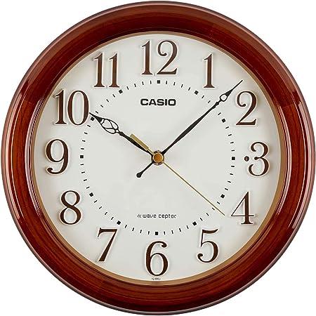 CASIO(カシオ) 掛け時計 電波 ブラウン 直径24cm アナログ 木枠 夜間秒針停止 置き掛け兼用 IQ-880J-5JF